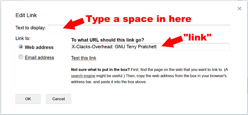 Picture of the Add Link dialogue inside GMail